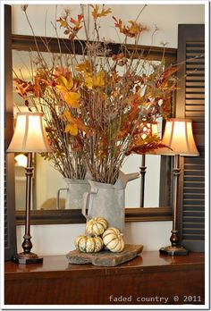Fall Grouping-might work on a fireplace mantle too.