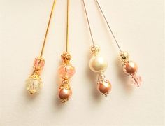 Pink/White Pearls and Crystals Stick Pins