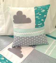 Little Cloud  Crib Quilt and matching decorator pillow -Ready to ship..one only. $185,00, via Etsy.