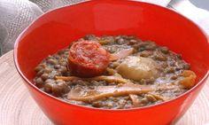 Receta de Potaje de lentejas y soja con zanahoria salteada