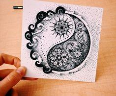 Image about beautiful in yin yang by chrisdrewlove Yin Yang Tattoos, Bff Tattoos, Future Tattoos, Body Art Tattoos, Small Tattoos, Sleeve Tattoos, Mandala Art Lesson, Mandala Artwork, Mandala Drawing