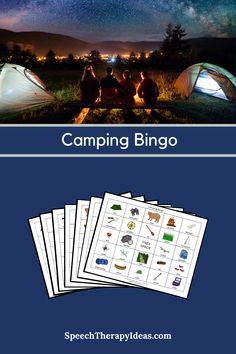 Work on camping themed vocabulary with this fun bingo game! There are 6 different bingo boards and a page of calling cards available in color and black & white versions. Speech Therapy Games, Therapy Activities, Therapy Ideas, Bingo Board, Board Games, Camping Bingo, Bingo Games, Calling Cards, Picture Cards