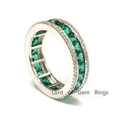 $829 Princess Emerald Wedding Band Pave Diamond Eternity Anniversary Ring 14K White Gold