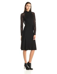 nice Vince Camuto Women's Long Sleeve Mock Neck Sweater Dress with Burnout Sleeves, Rich Black, X-Small