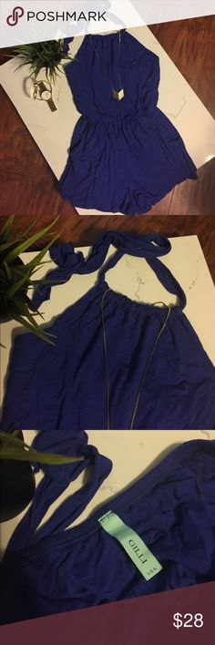 "GILLI Royal Blue Romper Fun little romper with adjustable halter style neck tie & pockets. Stretchy waist and sexy open back. Beautiful blue color. Ultra soft material. Made in USA. No care or Sz. Tag, but it is a small. The measurement from top of neck to waist is 12 1/2,"" and measurement from waist to bottom of shorts portion is 12 1/4."" I bought on Posh, but it is a tad too small for me at 5'6."" GILLI Other"