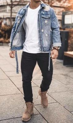 Denim Shorts Outfit, Denim Shirt With Jeans, Denim Shirts, Ripped Jeans, Stylish Mens Outfits, Casual Outfits, Men Casual, Mode Masculine, Timberland Outfits