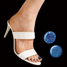 """J.Crew two-strap leather mules with Uslu Airlines """"AMB"""" and Essie """"Lots of Lux"""" nail polishes."""