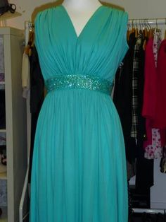 Vintage couture by Trina aqua Grecian dress with crystal band under bust. Looks glorious on! £60