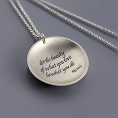 Rumi Necklace  inspirational quote  etched silver by lisahopkins, $84.00