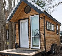 Outside view of the 128 square foot Shoebox from Tennessee Tiny Homes (tinyhappyhomes.com)