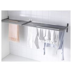 GRUNDTAL Drying rack, wall - stainless steel - IKEA - Diy and crafts interests Hanging Drying Rack, Laundry Room Drying Rack, Drying Rack Laundry, Clothes Drying Racks, Laundry Room Organization, Laundry Room Design, Laundry Hanging Rack, Ikea Laundry Room, Organization Ideas