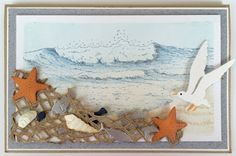 Handmade card by DT member Neline with Craftables Tiny's Ocean Set (CR1279), Punch die - Sea Shell (Cr1363), Punch die - Fish (CR1364) and Clear Stamps Tiny's Border Surf (TC0838), Tiny's Border Fish Net (TC0839) and Tiny's Background Beach (CS0969) from Marianne Design