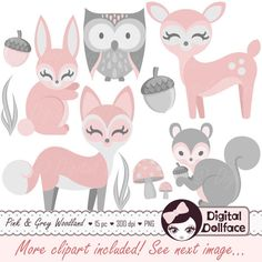 Baby Woodland Animal Clipart, Girl, Baby Clip Art, Pink Bunny, Deer & Fox by DigitalDollface on Etsy https://www.etsy.com/listing/212777409/baby-woodland-animal-clipart-girl-baby