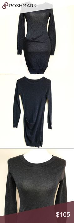 """ALL SAINTS long sleeve draped dress size 4 ALL SAINTS SPITALFIELDS draped long sleeve dress. Black with green shimmer throughout. Size 4. Armpit to armpit 16"""", length 34"""". Freshly dry cleaned and ready for a new home!! All Saints Dresses Mini"""
