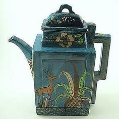 Mexican glazed pottery pitcher with lid. Rare square shape. Vintage pre 1940's