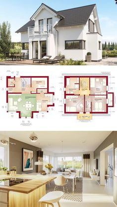 """One Family House Plans Modern Contemporary European Style Architecture Design Floor Plan """"EDITION 125 - Dream Home Ideas with 2 Story, 3 Bedroom & Open Concept Layout by Bien Zenker - Arquitectura moderna casas planos - HausbauDirekt. Family House Plans, Modern House Plans, Small House Plans, Modern House Design, House Floor Plans, Architecture Design, Plans Architecture, Modern Architecture House, Architectural House Plans"""