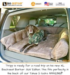 """To get this bed, """"Tripp is ready for a road trip on his new XL Backseat Barker: SUV Edition. This fits perfectly in the back of our Tahoe & looks AMAZING!"""" American made dog beds, dog bed large breed, dog bed livin Big Dogs, Large Dogs, Small Dogs, Bananas For Dogs, Large Breed Dog Beds, Dog Car Accessories, Orthopedic Dog Bed, Grand Caravan, Up House"""