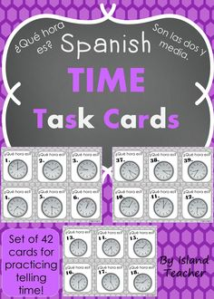 42 task cards for practicing telling time in Spanish.