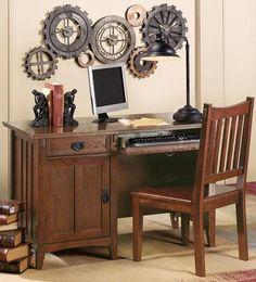 artisan computer desk with steampunk wall decor