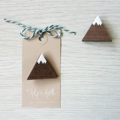 Mountain brooch laser cut wood and acrylic badge by alpandash