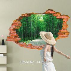 Large Wall Sticker Tree Forest Landscape 3d Brick Decals Living Room Bedroom Decoration Vinyl Wall Art Home Decor