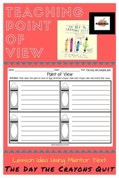 **FREE GRAPHIC ORGANIZER** Included in blog post for introducing students to POINT OF VIEW and PERSPECTIVE using this wonderful mentor text: The Day the  Crayons Quit! (Read more on @MsJordanReads blog!)