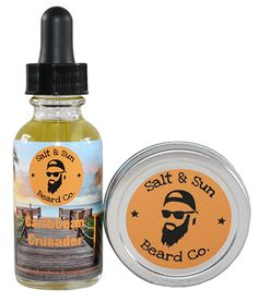 Beard Oil and Balm. Caribbean Crusader, the beard scent from Salt & Sun Beard Co. that will have all the ladies coming in close for a smell…and a touch. A complex citrusy scent, with eucalyptus, sweet orange, and peppermint.
