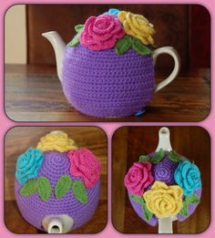 Crochet teacozy with roses