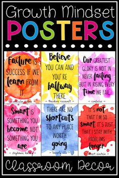 Growth Mindset Posters - Watercolor Quote Posters, EDUCATİON, Growth Mindset Quotes Posters For Kids - Decorate your elementary classroom with inspiration and motivation for students! This set of 28 watercolor-th. Poster S, Quote Posters, Kids Poster, Kumon, Growth Mindset Posters, Growth Mindset Activities, Teaching Posters, Education Quotes For Teachers, Educational Quotes For Students