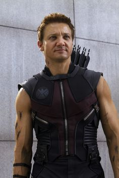 Hawkeye in The Avengers. Excuse me, sir. You have magnificent arms.