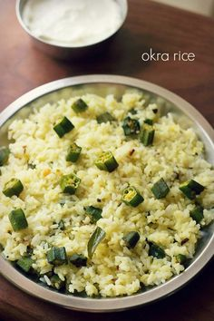 bhindi rice recipe with step by step photos - simple homely spiced okra rice recipe, where sauteed okra or bhindi is mixed with cooked rice. this is an easy rice recipe with bhindi that can be made Vegetarian Rice Recipes, Okra Recipes, Easy Rice Recipes, Cooking Recipes, Cooking Games, Okra Rice Recipe, Green Rice Recipe, Rice Dishes, Rice