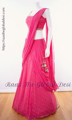 LEHENGA ONLINE USA Give yourself a versatile look by wearing this georgette lehenga choli featuring lucknowi work lehenga and hand work blouse Indian Gowns Dresses, Indian Fashion Dresses, Dress Indian Style, Indian Designer Outfits, Indian Outfits, Indian Designers, Indian Wear, Designer Dresses, Half Saree Lehenga
