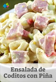 Coditos Salad with Pineapple Tasty Vegetarian Recipes, Mexican Food Recipes, Sweet Recipes, Ethnic Recipes, Dessert Recipes, Diy Food, Quick Easy Meals, Cooking Time, Food And Drink