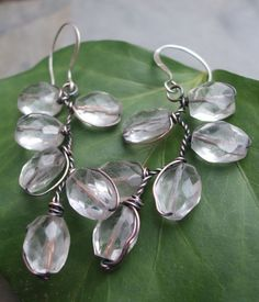 These are simular to my leaf earrings.    Ice Maiden Antiqued Copper Faceted Rock by ThePurpleLilyDesigns, $23.50