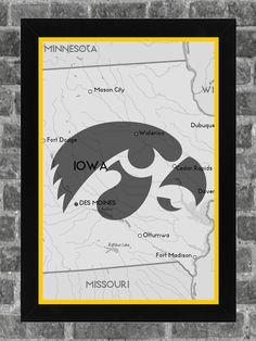 Iowa Hawkeyes Print Art Poster State 11x17. $14.99, via Etsy.