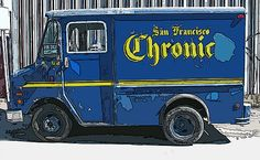"SF Chronicle newspaper delivery truck for sale and in an ""altered state"". By Samuel Sheats - Fine Art America. This would make a great print or greeting card for your ""420-appreciating"" friends. Go to my website for purchases. #headshop http://fineartamerica.com/featured/sf-chronic-truck-for-sale-samuel-sheats.html"