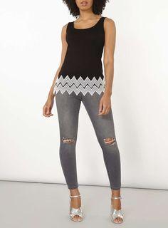 Womens Black Zig Zag Trim Broidery Vest Top- Black