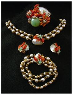 Haskell Spectacular Baroque Pearl & Natural Shells Grand Parure