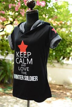 Bucky hoodie Keep calm and love the winter soldier t-shirt hoodie short sleeve