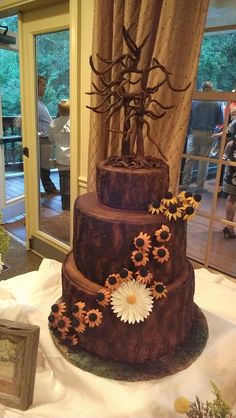 Round Wedding Cakes - Tree of Love Cake - Wheat Free Carrot Cake - All Chocolate Decorations, including tree and flowers!