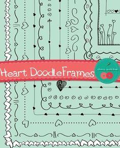 Heart Doodle Frames - St Valentine's Clip Art $3,7