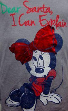 Jrs Disney Minnie Mouse T-shirt Medium M Santa I can Explain Gray Capped Sleeves #Disney #GraphicTee