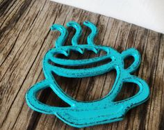 BOLD TRIVET turquoise aqua blue // coffee teacup design // rustic shabby chic // bistro cafe french country kitchen decor