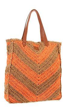 O'Neill Juniors Sadie Tote, Hot Coral, One Size for sale Chevron, Crochet Handbags, Crochet Bags, Crochet World, Orange Bag, Nylon Tote, Market Bag, Everyday Bag, Love Crochet