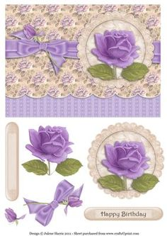 Subtle Lavender Rose Decoupage Card on Craftsuprint designed by Julene Harris - A simply stunning design featuring a lovely lavender rose. Accented with a small rose bud tied into the bow. Please click on my name to view more of my designs. - Now available for download!