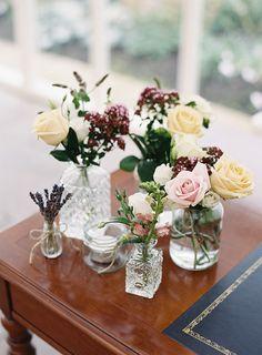 Flowers Bottle Jars Pink Cream Roses Pretty Floral Wonderland DIY Wedding