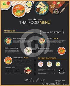 Thai Food Restaurant Menu Template Flat Design Stock Vector - Illustration of food, asia: 66502396 Thai food restaurant menu template flat design<br> Thai Restaurant Menu, Thai Food Menu, Restaurant Menu Template, Restaurant Menu Design, Food Graphic Design, Food Design, Chicken Coconut Soup, Menu Book, Thai Dessert