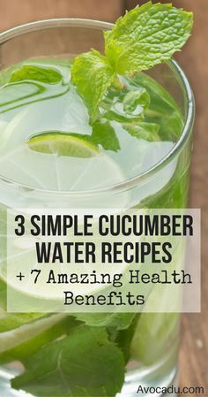 Cucumber water recipes to help you detox and lose weight! Add this healthy drink to your diet today for weight loss! http://avocadu.com/7-benefits-of-drinking-cucumber-water-3-recipes/