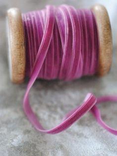 Raspberry velvet roll of Ribbon Velvet Ribbon, Pink Velvet, Silk Ribbon, Shades Of Purple, Magenta, Textiles, Everything Pink, Haberdashery, Ribbon Embroidery
