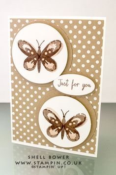 hand crafted card ... pair of watercolor butterflies in neutral colors ... luv the polka dot paper with the spots on the butterflies continuing the theme ... Stampin' Up!